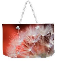 Raindrops On Dandelion Red Weekender Tote Bag