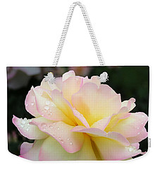 Weekender Tote Bag featuring the photograph Raindrops On Rose Petals by Barbara McMahon