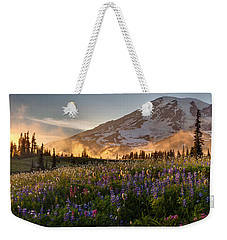 Rainier Golden Light Sunset Meadows Weekender Tote Bag