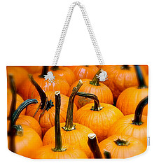 Weekender Tote Bag featuring the photograph Rainy Day Pumpkins by Ira Shander