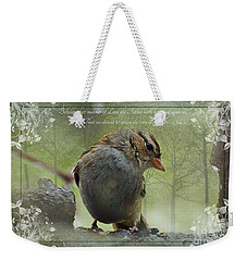Rainy Day Sparrow With Verse Weekender Tote Bag by Debbie Portwood