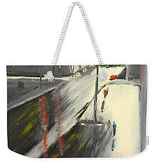 Weekender Tote Bag featuring the painting Rainy Street In Melbourne by Pamela  Meredith
