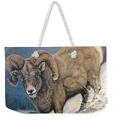 Weekender Tote Bag featuring the painting Ram In The Snow by Donna Tucker