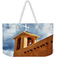 Rancho De Taos Bell Tower And Cross Weekender Tote Bag by Lanita Williams