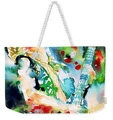 Randy Rhoads Playing The Guitar - Watercolor Portrait Weekender Tote Bag