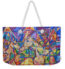 Weekender Tote Bag featuring the painting Rasca On Horsey At Ucrane Pyramids by Dianne  Connolly