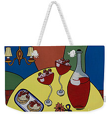 Weekender Tote Bag featuring the painting Raspberry Wine by Barbara McMahon