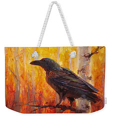 Raven Glow Autumn Forest Of Golden Leaves Weekender Tote Bag