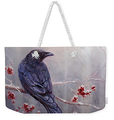 Raven In The Stillness - Black Bird Or Crow Resting In Winter Forest Weekender Tote Bag
