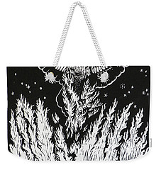 Raven Stealing Fire From The Sun - Woodcut Illustration For Corvidae Weekender Tote Bag