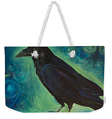 Weekender Tote Bag featuring the painting Space Raven by Yulia Kazansky