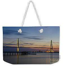 Weekender Tote Bag featuring the photograph Ravenel Bridge Nightfall by Dale Powell