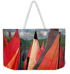 Weekender Tote Bag featuring the painting Ravenna Regatta by Tracey Harrington-Simpson