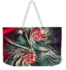 Raw Red Roses Framed Weekender Tote Bag