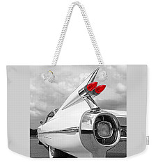 Reach For The Skies - 1959 Cadillac Tail Fins Black And White Weekender Tote Bag