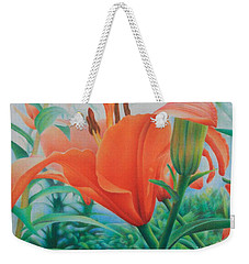 Weekender Tote Bag featuring the painting Reach For The Skies by Pamela Clements