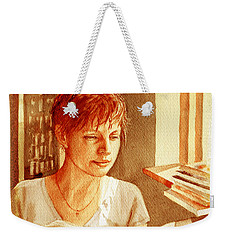 Weekender Tote Bag featuring the painting Reading A Book Vintage Style by Irina Sztukowski