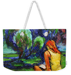 Weekender Tote Bag featuring the painting Reading In A Park by Xueling Zou