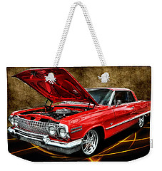 Red '63 Impala Weekender Tote Bag by Victor Montgomery