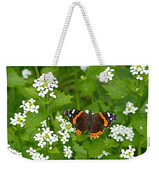 Weekender Tote Bag featuring the photograph Red Admirals by Lingfai Leung