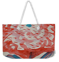Red And Baby Blue Weekender Tote Bag