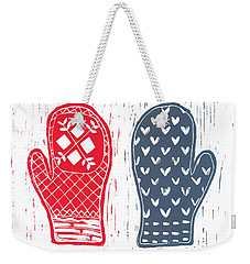 Red And Blue Nordic Mittens Weekender Tote Bag