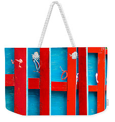 Red And Blue Wooden Shutters Weekender Tote Bag