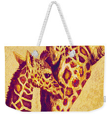 Red And Gold Giraffes Weekender Tote Bag by Jane Schnetlage