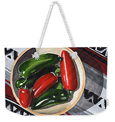 Weekender Tote Bag featuring the painting Red And Green Peppers by Laura Forde