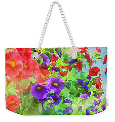 Red And Purple Calibrachoa - Digital Paint I Weekender Tote Bag by Debbie Portwood