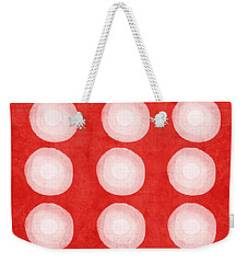 Red And White Shibori Circles Weekender Tote Bag