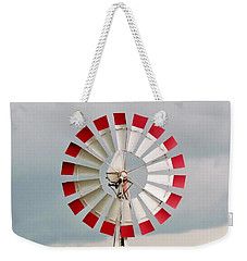 Weekender Tote Bag featuring the photograph Red And White Windmill by Cynthia Guinn