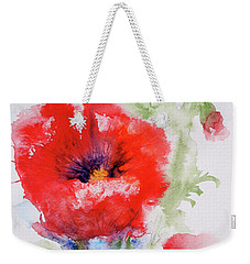 Weekender Tote Bag featuring the painting Red Anemones by Marna Edwards Flavell