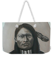 Weekender Tote Bag featuring the painting Red Armed Panther by Michael  TMAD Finney