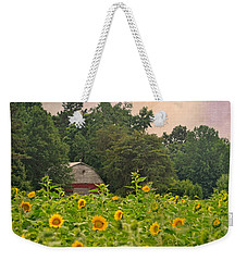 Red Barn Among The Sunflowers Weekender Tote Bag by Sandi OReilly