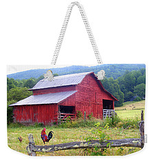 Red Barn And Rooster Weekender Tote Bag