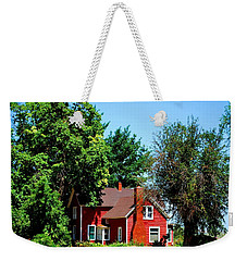 Weekender Tote Bag featuring the photograph Red Barn And Trees by Matt Harang