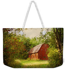 Red Barn In The Woods Weekender Tote Bag