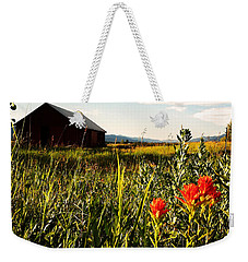 Weekender Tote Bag featuring the photograph Red Barn by Meghan at FireBonnet Art