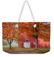 Red Barn With White Barn Door Weekender Tote Bag by Jeff Folger