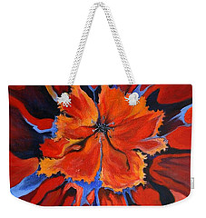 Weekender Tote Bag featuring the painting Red Bloom by Alison Caltrider