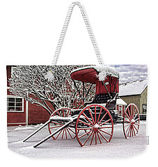 Weekender Tote Bag featuring the photograph Red Buggy At Olmsted Falls - 1 by Mark Madere