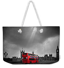 Red Bus Weekender Tote Bag by Svetlana Sewell