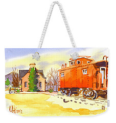 Red Caboose At Whistle Junction Ironton Missouri Weekender Tote Bag by Kip DeVore