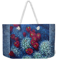 Weekender Tote Bag featuring the painting Red Cactus by Rob Corsetti