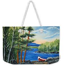 Red Canoe Weekender Tote Bag by Brenda Brown
