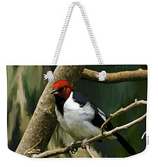 Red-capped Cardinal Weekender Tote Bag by Adam Olsen