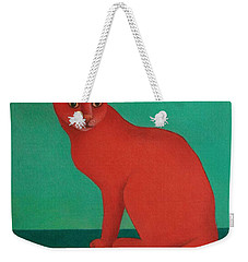 Weekender Tote Bag featuring the painting Red Cat by Pamela Clements