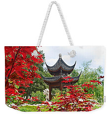 Red - Chinese Garden With Pagoda And Lake. Weekender Tote Bag