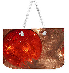 Weekender Tote Bag featuring the photograph Red Christmas Ornament by Lynn Sprowl